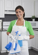 Hispanic woman cleaning kitchen