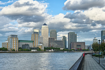 Canary Wharf, London, England, UK, Europe, across the Thames