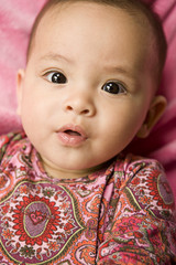 Curious mixed race baby