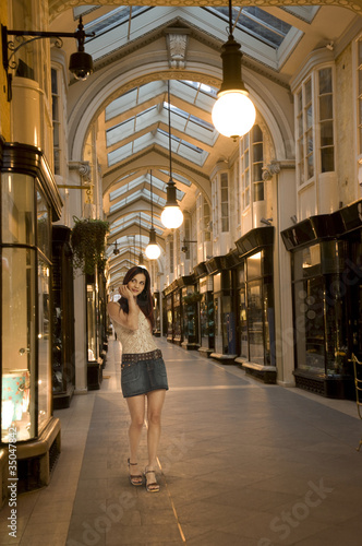 Hispanic woman shopping in mall