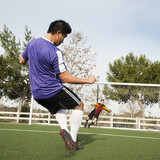 Soccer player kicking ball into goal on soccer field