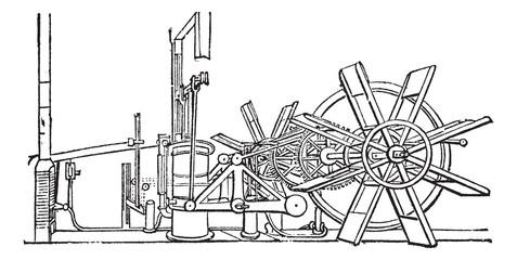 Clermont Steam Ship Paddle Wheel Unit vintage engraving