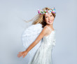 Angel children girl wind in hair fashion flowers crown