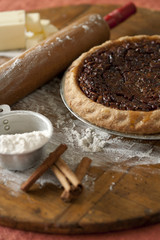 Baking ingredients and pecan pie