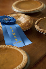 First place ribbon on homemade pie