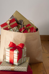 Bag full of Christmas gifts
