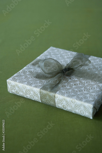 Christmas gift wrapped with bow
