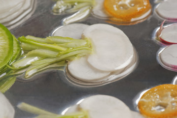Close up of sliced vegetables