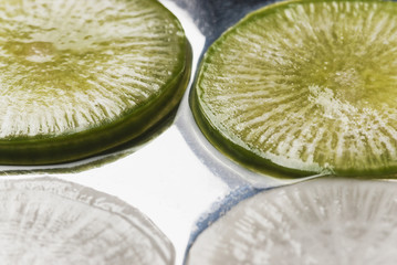 Close up of sliced vegetable