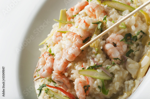 Shrimp and rice entree in bowl
