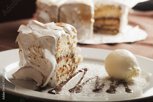 Close up of cake and ice cream on plate