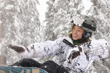 Chinese snowboarder falling