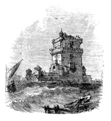 Belem Tower, in Lisbon, Portugal, during the 1890s, vintage engr