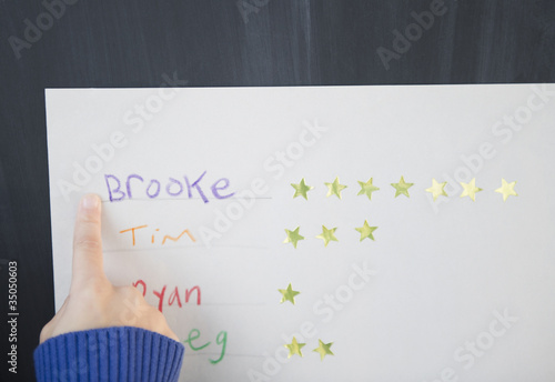 African American girl pointing at a name and stars