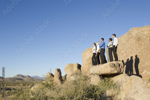 Business people standing on rock in desert