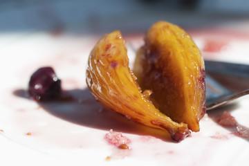 Close up of sliced fig