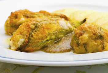 Traditional stuffed Italian zucchini flowers