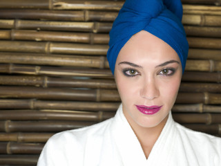 Glamorous woman in blue turban