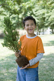 Hispanic boy holding sapling tree