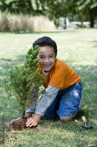 Hispanic boy planting tree
