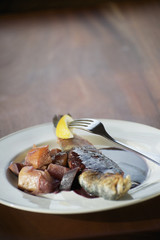 Italian trout with beets and red wine sauce