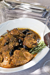 Italian coniglio e olive or rabbit and olives