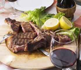 Red wine and Florentine steak