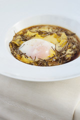 """Italian entree of egg, polenta and truffles"""