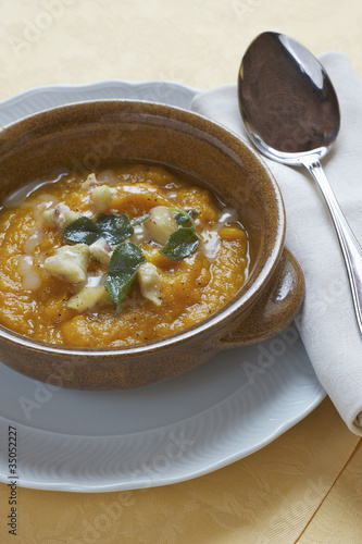 Squash and pumpkin soup with sage