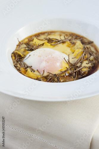 """Italian entree of egg, polenta and truffles"""