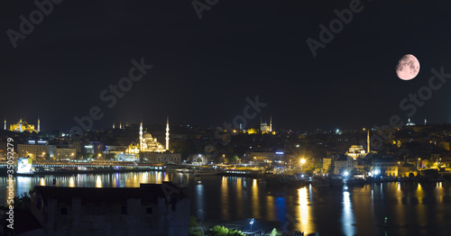 Foto op Plexiglas Volle maan Istanbul Turkey,Panoramic View