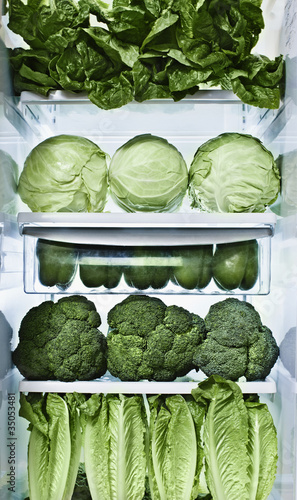 Green vegetables in refrigerator