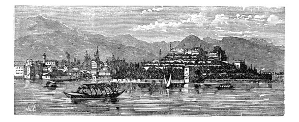 Borromean Islands,  Lake Maggiore,  Italy, vintage engraving.