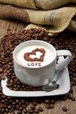 Fototapety cappuccino con chicchi di caffè