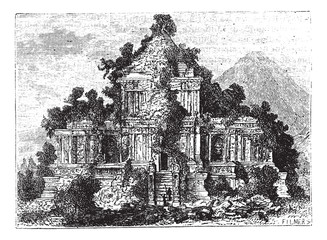 The large Temple at Brambanan, Indonesia, vintage engraving.