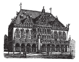 Council house or council estate, Bremen, Germany, vintage engrav