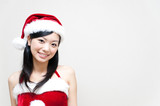 a portrait of attractive asian santa claus