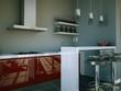 Küchendesign - Küche grau rot