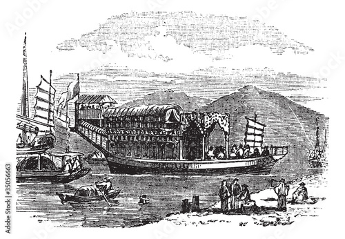 Flower boat, in Canton or Guangzhou, China vintage engraving