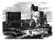 Castle - narbornne door and the treasure house vintage engraving