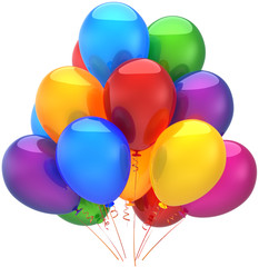 Happy birthday balloons party decoration shiny multicolored