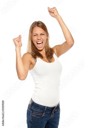 Successful young female in casual screaming yes!