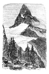 The Matterhorn or Monte cervino. Zermatt, Switzerland vintage en