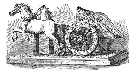Roman Chariot vintage engraving