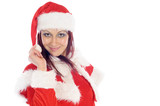 Cute smiling young woman wearing a red christmas costume