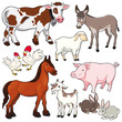Farm animals. Vector and cartoon isolated characters.