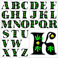 ABC Alphabet background sativa gold design