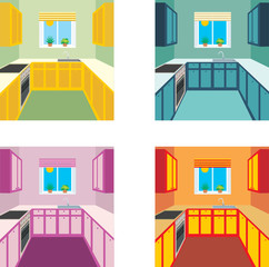 Kitchen interior in four color variants. vector