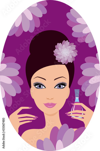 Beautiful woman with nail polish. Manicure. vector