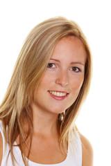 blonde Frau mit Sommersprossen